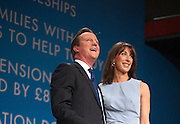 © Licensed to London News Pictures. 01/10/2014. Birmingham, UK David Cameron hugs his wife Samantha after he delivers his leaders speech at  The Conservative Party Conference in Birmingham 1st October 2014 2014. Photo credit : Stephen Simpson/LNP