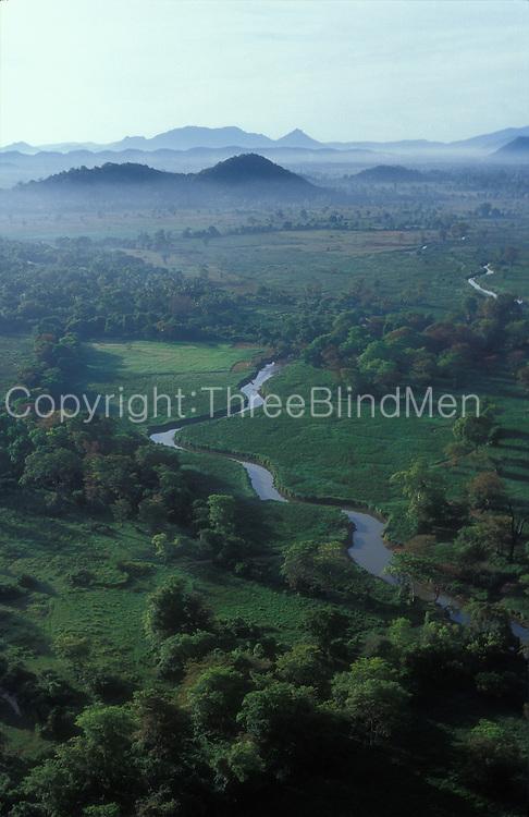 Aerial view of stream near Sigiriya.