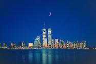 Lower Manhattan Skyline and Twin Towers of the World Trade Center, designed by Minoru Yamasaki, Hudson River, Manhattan, New York City, New York, USA, Dusk