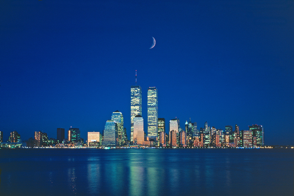 Lower Manhattan Skyline and Twin Towers of the World Trade Center, designed by Minoru Yamasaki, Hudson River, Manhattan, New York City, New York, USA, Dusk