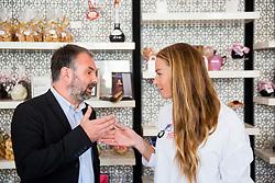 Ales Smrekar and Tina Maze during Milka press conference, on October 3, 2017 in Lolita Cake Shop, Ljubljana, Slovenia. Photo by Vid Ponikvar / Sportida