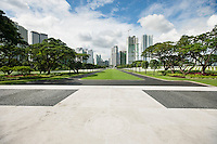 Manila American Cemetery and Memorial with cityscape; Manila; Philippines