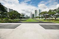 Manila American Cemetery and Memorial with cityscape; Manila; Philippines