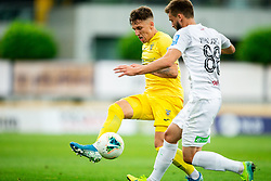 Andraz Zinic of Domzale vs Dominik Mihaljevic of Tabor Sezana during football match between NK Domzale and NK CB24 Tabor Sezana in 31st Round of Prva liga Telekom Slovenije 2019/20, on July 3, 2020 in Sports park, Domzale, Slovenia. Photo by Vid Ponikvar / Sportida
