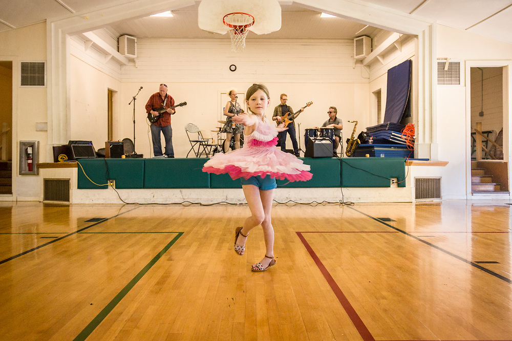 Seven year old Samaria dances to Little Sara and the Nightowls at Phil and Molly Cook's 50th wedding anniversary in Shoreline, Washington.