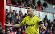 Nottingham Forest defender Eric Lichaj  not agreeing with a linesmans decision during the Sky Bet Championship match between Brentford and Nottingham Forest at Griffin Park, London, England on 21 November 2015. Photo by Matthew Redman.