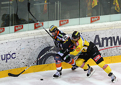 08.01.2012, Albert Schultz Halle, Wien, AUT, EBEL, UPC Vienna Capitals vs Moser Medical Graz 99ers, im Bild Yvan Busque, (Moser Medical Graz 99ers, #25) und Jon Insana, (UPC Vienna Capitals, #7) // during the icehockey match of EBEL between UPC Vienna Capitals (AUT) and Moser Medical Graz 99ers (AUT) at Albert Schultz Halle, Vienna, Austria on 08/01/2012,  EXPA Pictures © 2012, PhotoCredit: EXPA/ T. Haumer