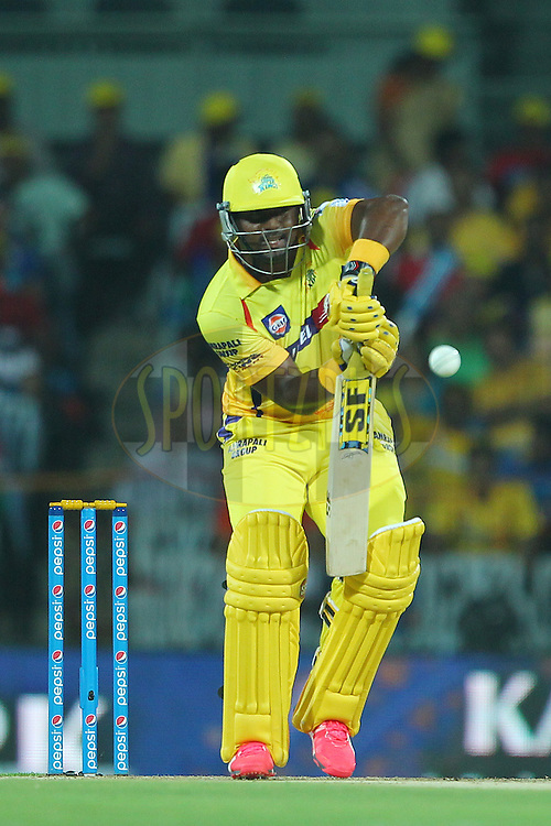 Dwayne Smith of the Chennai Superkings  during match 43 of the Pepsi IPL 2015 (Indian Premier League) between The Chennai Superkings and The Mumbai Indians held at the M. A. Chidambaram Stadium, Chennai Stadium in Chennai, India on the 8th May April 2015.<br /> <br /> Photo by:  Ron Gaunt / SPORTZPICS / IPL