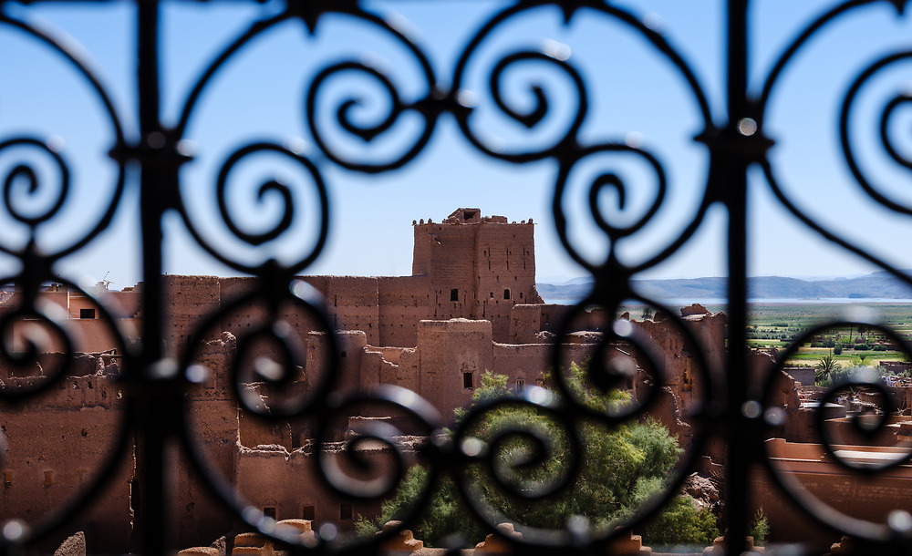 OURZAZATE, MOROCCO - CIRCA APRIL 2017:  View of window and meta work at the Taourirt Kasbah in Ourzazate