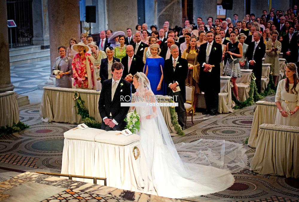 ROME - 5-7-2014 - Wedding Royal marriage of Belgium Prince Amedeo and Lili (Elisabetta) Rosboch von Wolkenstein at the Basilica di Santa Maria in Trastevere in Rome, Italy.  COPYRIGHT ROBIN UTRECHT