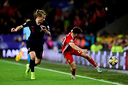 Daniel James of Wales is marked by Tin Jedvaj of Croatia - Mandatory by-line: Ryan Hiscott/JMP - 13/10/2019 - FOOTBALL - Cardiff City Stadium - Cardiff, Wales - Wales v Croatia - UEFA European Qualifiers