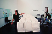 """VENICE, ITALY..June 1999..48th Biennale of Venice.Austrian Pavillion..Bag lottery for the benefit of schools for Kosovan refugees in Macedonia by Initiative """"Wochenklausur""""..(Photo by Heimo Aga)"""