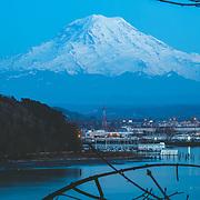 Mount Rainier at dusk - view from NE Tacoma