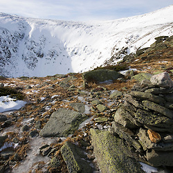 A winter view into Tuckerman Ravine from Lion Head on Mount Washington in New Hampshire USA