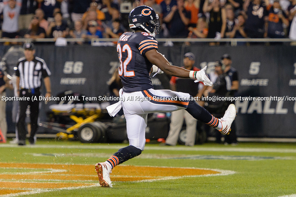 19 September 2016: Chicago Bears Cornerback Deiondre' Hall (32) [21217] celebrates during an NFL football game between the Philadelphia Eagles and the Chicago Bears at Solider Field in Chicago, IL. (Photo by Daniel Bartel/Icon Sportswire)