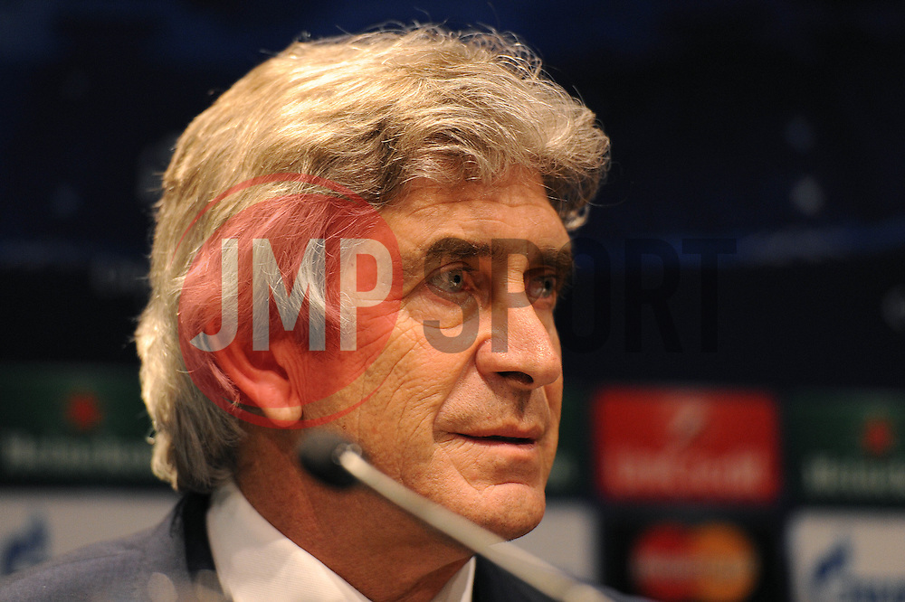 Manchester City Manager, Manuel Pellegrini speaks at the press conference ahead of his sides match against Barcelona in the Champions League - Photo mandatory by-line: Dougie Allward/JMP - Mobile: 07966 386802 - 17/03/2015 - SPORT - Football - Barcelona - W Barcelona Hotel - Manchester City Press Conference - Round of 16 - Second Leg