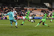 Forest Green Rovers Reece Brown(10) shoots at goal scores a goal 0-2 during the EFL Sky Bet League 2 match between Port Vale and Forest Green Rovers at Vale Park, Burslem, England on 23 March 2019.