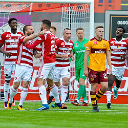 Ioannis Skondras celebrates with his teammates after scoring in the match between Hamilton Accies v Motherwell, Ladbrokes Premiership, The Super Seal Stadium, Saturday 14 October 2017  (c) Angie Isac | SportPix.org.uk
