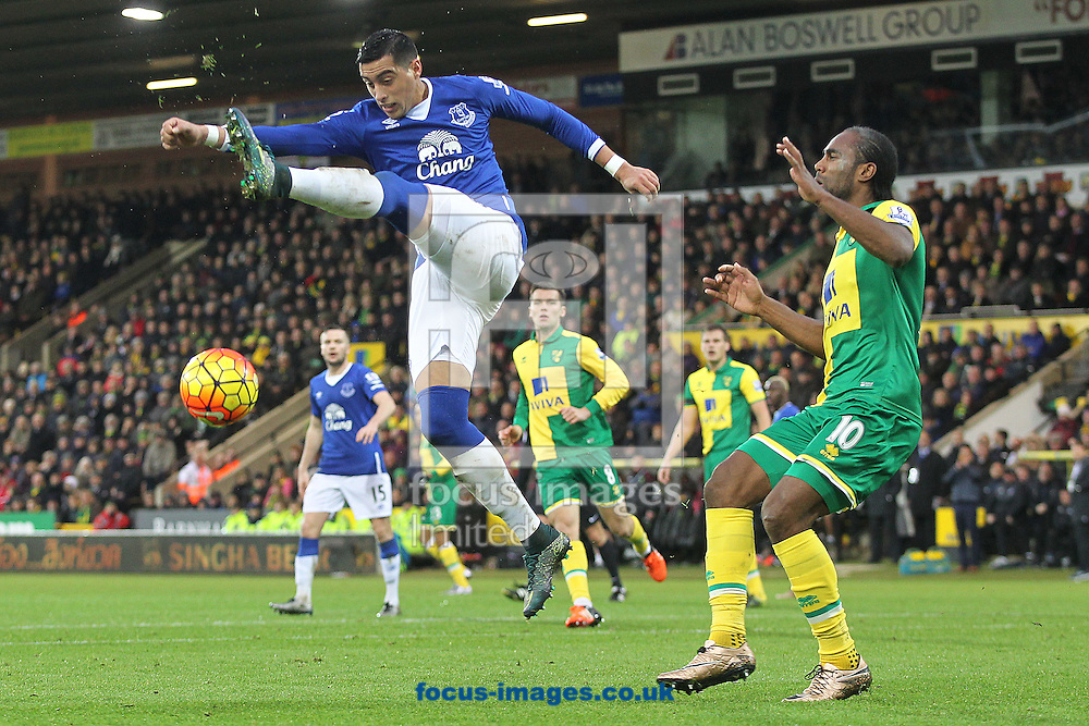 Ramiro Funes Mori of Everton and Cameron Jerome of Norwich in action during the Barclays Premier League match at Carrow Road, Norwich<br /> Picture by Paul Chesterton/Focus Images Ltd +44 7904 640267<br /> 12/12/2015