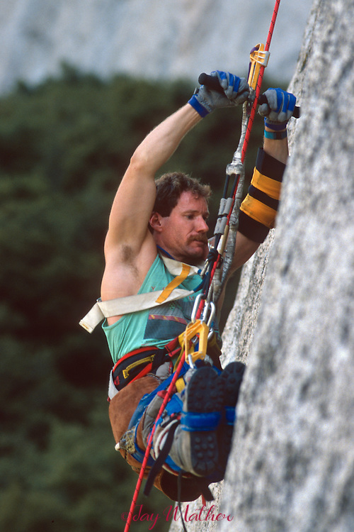 Mark Wellman begins his climb on the Shield Route near the summit of El Capitan with Mike Corbett, July 1989..Wellman became the first paraplegic climber to ascend the 3000' granite monolith during an eight-day climb.