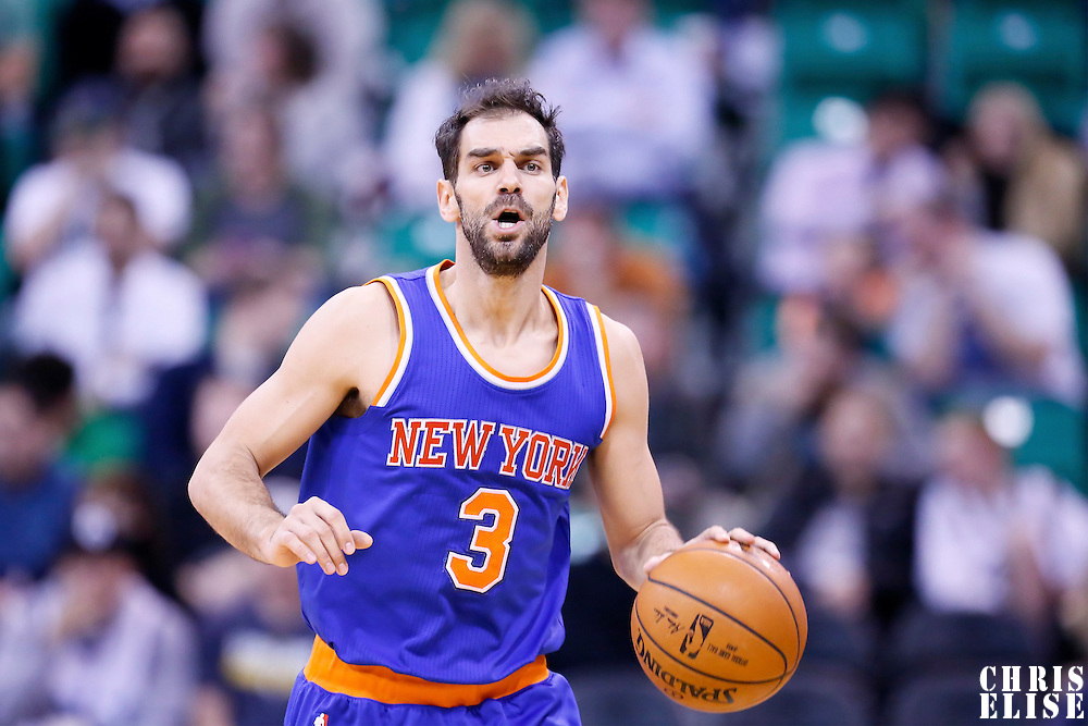 09 December 2015: New York Knicks guard Jose Calderon (3) brings the ball up court during the Utah Jazz 106-85 victory over the New York Knicks, at the Vivint Smart Home Arena, Salt Lake City, Utah, USA.