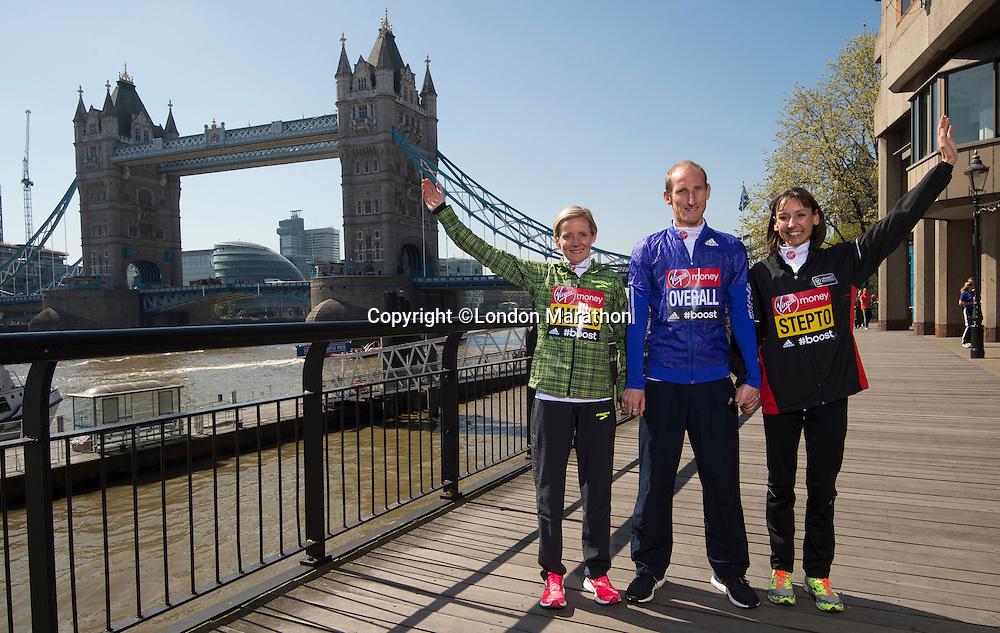 Virgin Money London Marathon 2015<br /> <br /> At a press conference featuring the the leading British contenders for the London Marathon.<br /> <br /> Left to right:<br /> Sonia Samuels UK<br /> Scott Overall UK<br /> Emma Stepto UK<br /> <br /> Photo: Bob Martin for Virgin Money London Marathon<br /> <br /> This photograph is supplied free to use by London Marathon/Virgin Money.