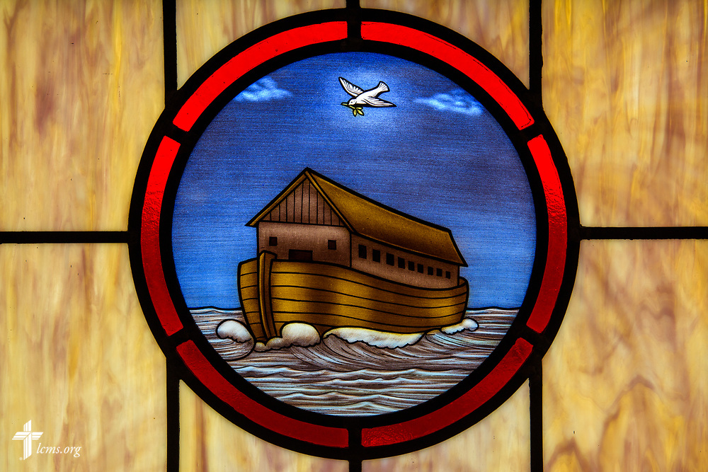 Stained glass depicting Noah and the Flood (Genesis 6:9), at St. John's Lutheran Church, Conover, N.C, on Friday, April 21, 2017. LCMS Communications/Erik M. Lunsford