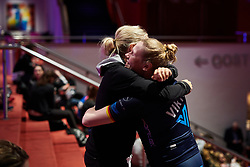 Mieke Kröger (GER) catches up with Leah Thorvilson (USA) at Healthy Ageing Tour 2018 - Team Presentation  in Groningen on April 3, 2018. Photo by Sean Robinson/Velofocus.com