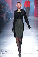 Emily Baker walks down runway for F2012 Jason Wu's collection in Mercedes Benz fashion week in New York on Feb 10, 2012 NYC