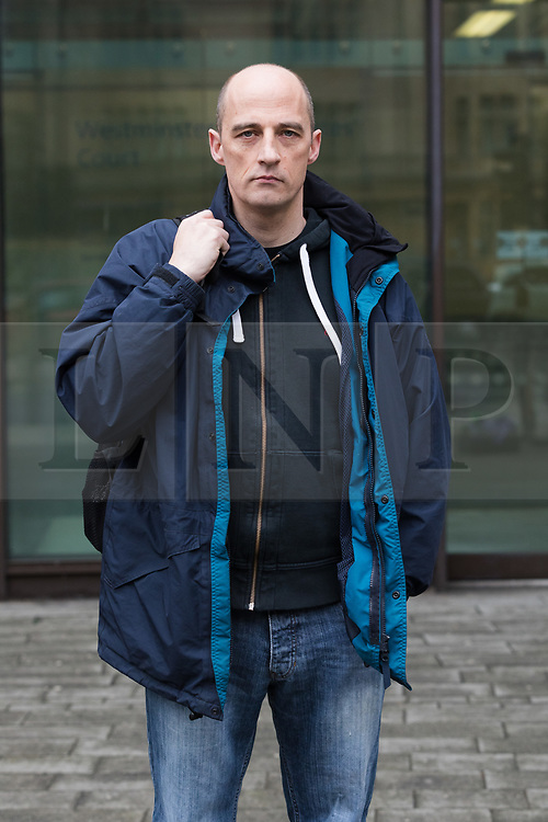 © Licensed to London News Pictures. 20/03/2017. LONDON, UK.  Stephen Dawe from New Fathers for Justice arrives at Westminster Magistrates Court in London accused of scaling St Paul's Cathedral. Stephen Dawe and Archit Ssan are charged with obstruction, aggravated trespass and criminal damage following a protest where they scaled St Paul's Cathedral stone gallery. Photo credit: Vickie Flores/LNP