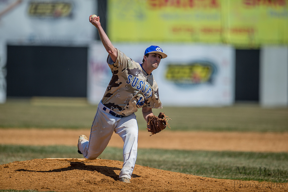 Sussex County Community College Freshman Right Handed Pitcher Josh Bishop (14) - Community College of Morris vs Sussex Community College at Skylands Park in Frankford, NJ on Saturday April 12, 2014. (photo / Mat Boyle)