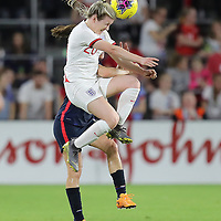 England forward Lauren Hemp (20) heads the ball during the first match of the 2020 She Believes Cup soccer tournament at Exploria Stadium on 5 March 2020 in Orlando, Florida USA.