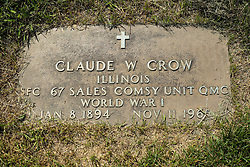 31 August 2017:   Veterans graves in Park Hill Cemetery in eastern McLean County.<br /> <br /> Claude W Crow  Illinois  SFC  67 Sales Comsy Unit QMC  World War I  Jan 8 1894  Nov 11 1965