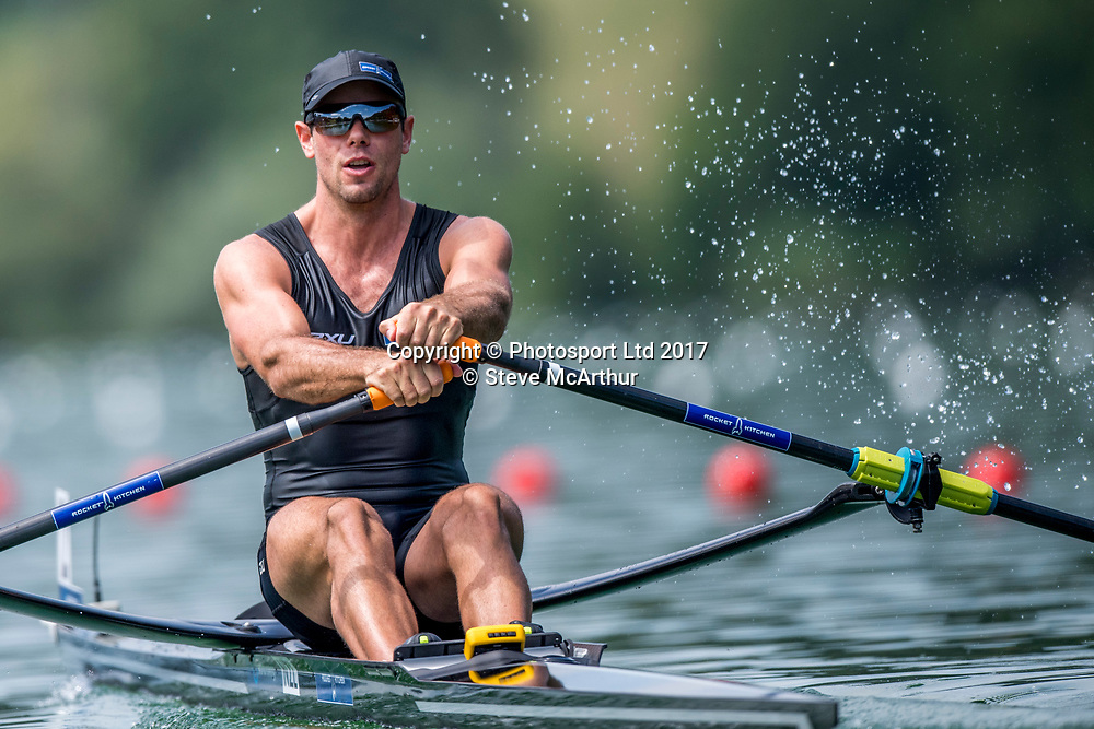 Robbie Manson (Wairau RC) NZ Mens single scull  racing the qualification heat at WCIII on the Rotsee, Lucerne, Switzerland, Friday 7th July 2017 © Copyright Steve McArthur / www.photosport.nz