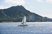 Sailing, Diamond Head, Waikiki, Oahu, Hawaii