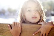 Cute brazilian seven year old girl on the beach