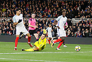 Goal scored by Dominic Solanke of England during the U21 UEFA EURO first qualifying round match between England and Scotland at the Riverside Stadium, Middlesbrough, England on 6 October 2017. Photo by Paul Thompson.