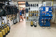 A SCUBA diving club in Larnaca, Cyprus the diving equipment storage room