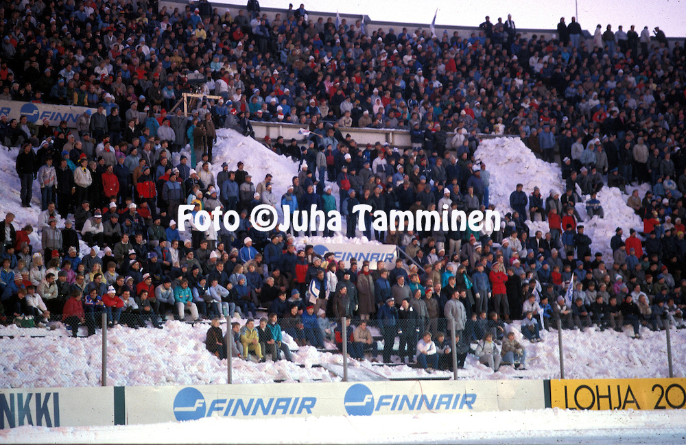19.03.1986, Olympic Stadium, Helsinki, Finland..European Champions Cup, Quarter Final, 2nd leg match, FC Kuusysi v Steaua Bucuresti..Part of the crowd of 32,522 standing in the snow..©Juha Tamminen