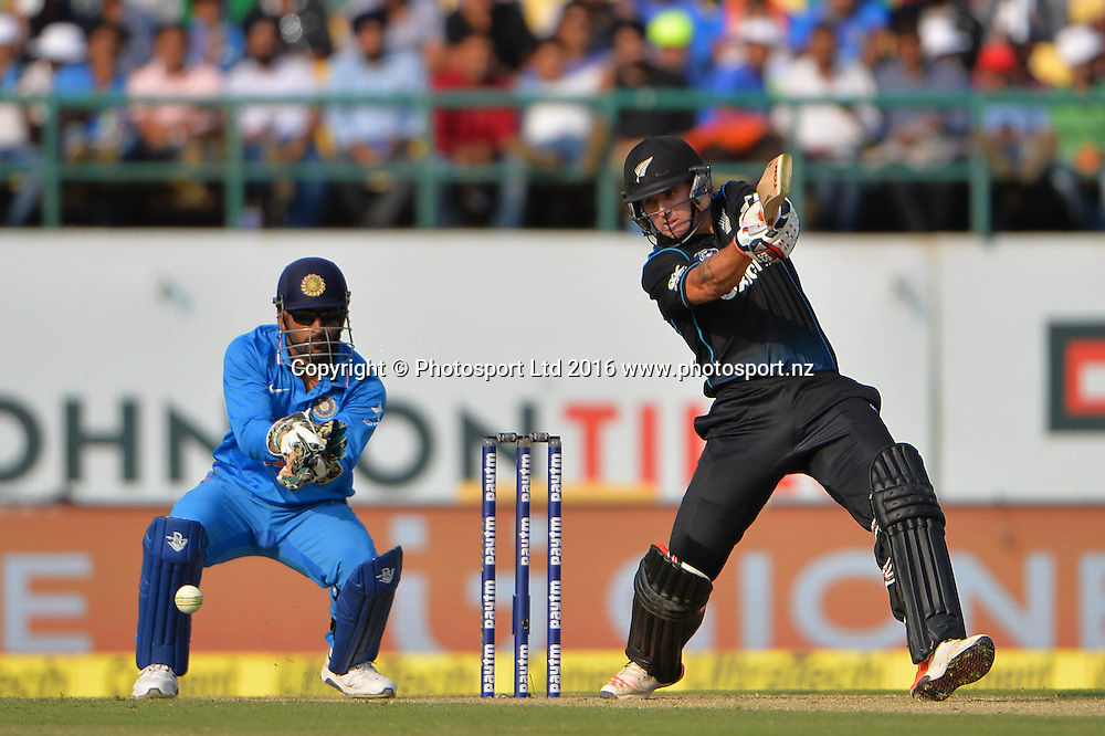 Doug Bracewell of New Zealand bats during the 1st one day match India against New Zealand in HPCA stadium Dharamsala, India, Sunday, Oct 16, 2016.<br /> Copyright photo: www.photosport.nz