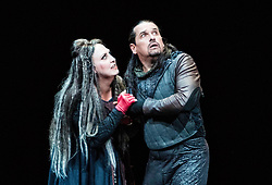 A new production of Verdi's dark operatic thriller, given by the Edinburgh International Festival's 2017 resident company Teatro Regio of Turin, conducted by Gianandrea Noseda and directed by Emma Dante. The production runs from 18-20 August at the Festival Theatre in Edinburgh.<br /> <br /> Pictured: Dalibor Jenis (Macbeth), Anna Pirozzi (Lady Macbeth)