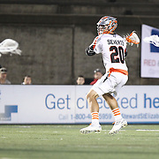 Jeremy Sieverts #20 of the Denver Outlaws looks to shoot the ball during the game at Harvard Stadium on May 10, 2014 in Boston, Massachusetts. (Photo by Elan Kawesch)