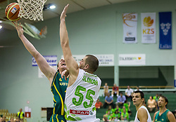 Cameron Bairstow of Australia vs Uros Slokar of Slovenia during friendly basketball match between National teams of Slovenia and Australia, on August 3, 2015 in Arena Tri lilije, Lasko, Slovenia. Photo by Vid Ponikvar / Sportida