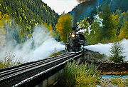 Blowing the air as #472 heads across the trestle crossing the Animas River.