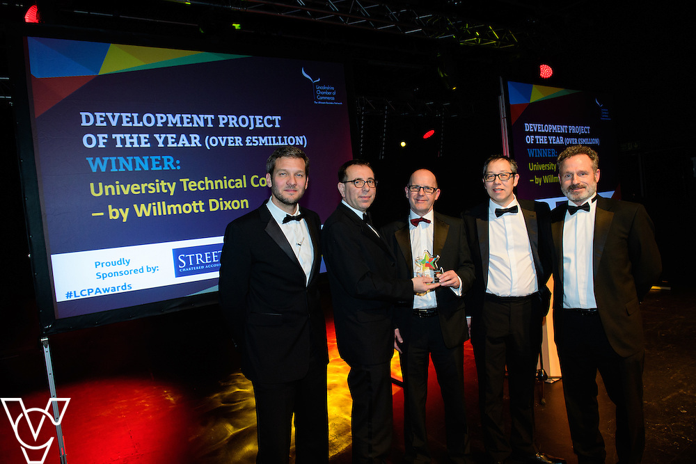Lincolnshire Property and Construction Awards 2017.<br /> <br /> Development Project of the Year (over &pound;5million) - Sponsored by Streets Chartered Accountants.<br /> <br /> Charlie Luxton and award sponsor James Pinchbeck from Streets Chartered Accountants presents the award to University Technical College - by Willmott Dixon<br /> <br /> Picture: Chris Vaughan Photography for Lincolnshire Chamber of Commerce<br /> Date: February 7, 2017