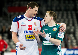 Mijajlo Marsenic of Serbia and Dzianis Rutenka of Belarus during handball match between National teams of Serbia and Belarus on Day 7 in Main Round of Men's EHF EURO 2018, on January 24, 2018 in Arena Zagreb, Zagreb, Croatia.  Photo by Vid Ponikvar / Sportida