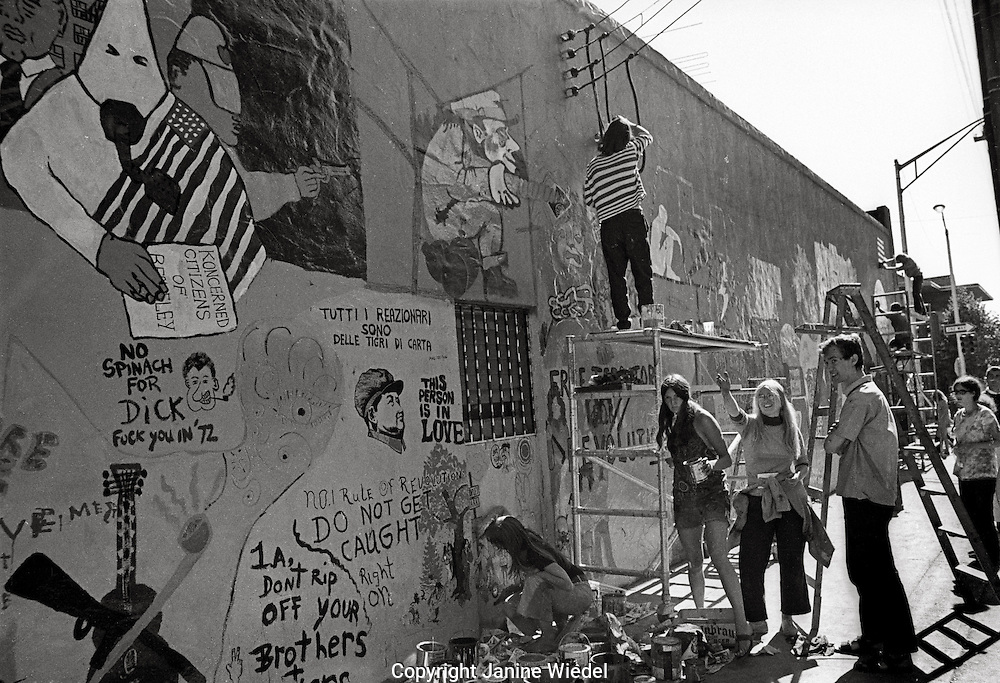 Mural being worked on in Berkeley during People's Park  Student protest & riots California 1969