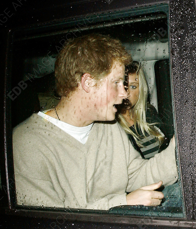 18.JANUARY.2007. LONDON<br /> <br /> A DRUNK PRINCE HARRY AND GIRLFRIEND CHELSY DAVY LEAVING CUKOO CLUB, MAYFIR AT 3.00AM. THIS IS THE LAST TIME THEY WILL SEE EACHOTHER IN A WHILE BECAUSE SHE IS GOING BACK TO SOUTH AFRICA.<br /> <br /> BYLINE: EDBIMAGEARCHIVE.CO.UK<br /> <br /> *THIS IMAGE IS STRICTLY FOR UK NEWSPAPERS AND MAGAZINES ONLY*<br /> *FOR WORLD WIDE SALES AND WEB USE PLEASE CONTACT EDBIMAGEARCHIVE - 0208 954 5968*