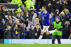 LIVERPOOL, ENGLAND - Saturday, February 1, 2014: Everton's Kevin Mirallas celebrates scoring the second winning goal against Aston Villa during the Premiership match at Goodison Park. (Pic by David Rawcliffe/Propaganda)