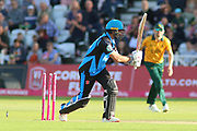 Callum Ferguson of Worcestershire Rapids is bowled by Jake Ball of Nottinghamshire Outlaws during the Vitality T20 Blast North Group match between Nottinghamshire County Cricket Club and Worcestershire County Cricket Club at Trent Bridge, West Bridgford, United Kingdon on 18 July 2019.